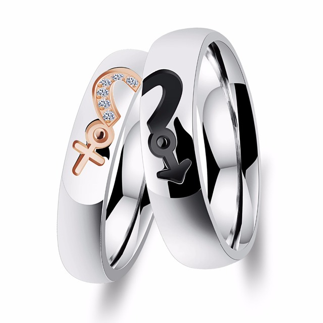 Free Engraving Couples Male And Female Symbol Rings In Stainless