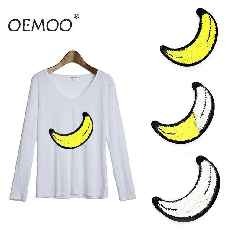 Новый Реверсивный изменить Цвет 8.2*23 см Блёстки Нашивки банан пришить Нашивки для одежды DIY патч аппликация ремесла