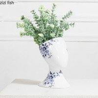 Modern Abstract Flower Vase Ceramics Ornaments Decoration Personality Creative Blue and White Porcelain Vases Chinese Flower Pot