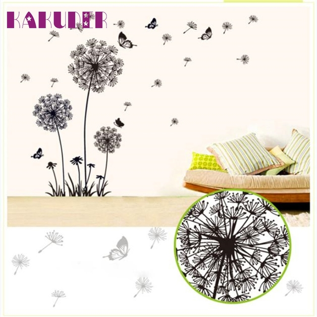 KAKUDER hot sale DIY black dandelion flower butterfly art wall decor decals mural pvc wall stickers home decor U6620 DROP SHIP