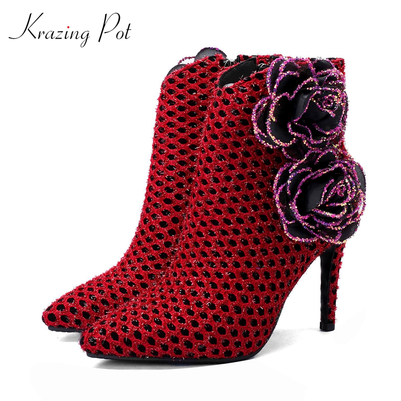fec8486ddd5b2 Krazing Pot kid suede pointed toe three-dimensional flowers rose decoration  banquet nightclub sexy big size 43 ankle boots L83