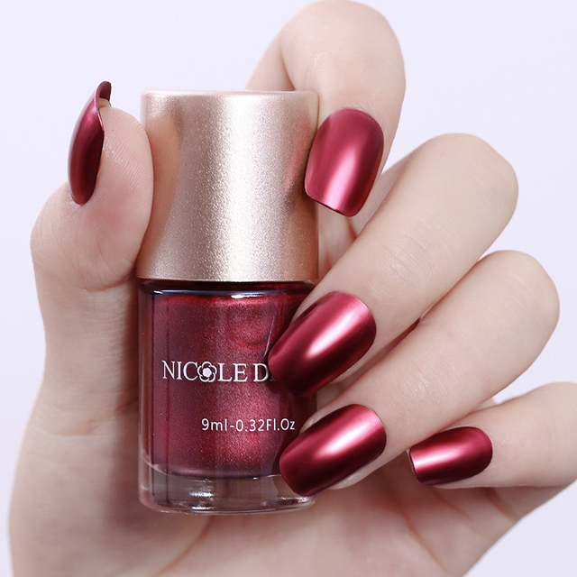 9ml NICOLE DIARY Red Metallic Nail Polish Varnish Mirror Effect Metal Lacquer Manicure Art
