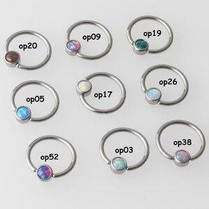 Image 2 - Титановое кольцо с плоским диском G23, 9 цветов, опал, кольцо для перегородки, носа, ушей, хряща, кольцо для сосков, пирсинг, ювелирные изделия для тела