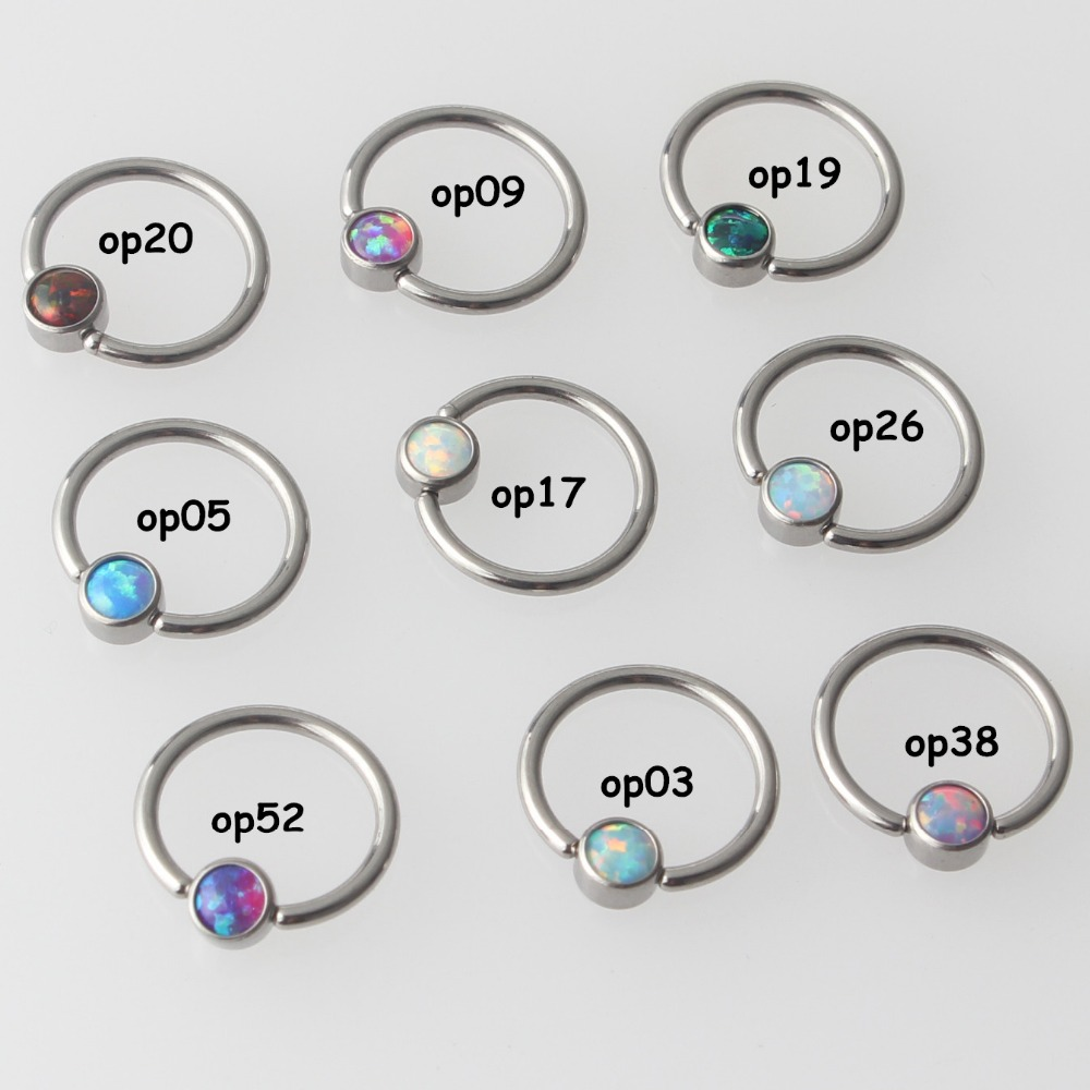 Image 2 - Mix 9 Color Opal G23 Titanium Flat Disc Captive Bead Ring Septum Nose Ear Tragus Cartilalge Nipple Ring Piercing Body Jewelry-in Body Jewelry from Jewelry & Accessories