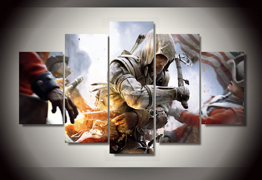 5 Pieces Modern Game Painting Assassin S Game Painting Hd Canvas