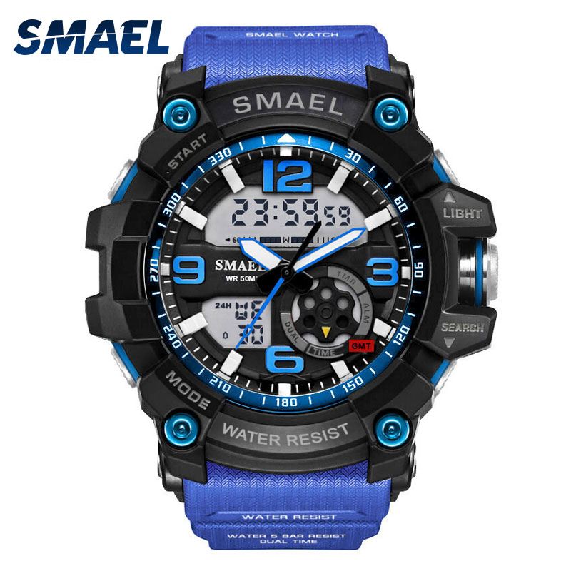 Cool Military Watch Dual Time Quartz Watch Fashion Outdoor Sport Watches Men LED Digital 1617 montre homme relogios masculino ezon radio wave calibrate time digital men sports watch outdoor casual running swimming waterproof 50m wristwatch montre homme