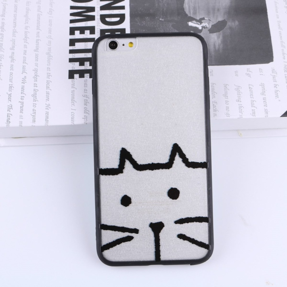 Ukcoco Cute Cat Translucent Frosted Case Cover Silk Line Pc Base Tpu
