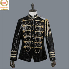 2018  Fashion sequins stage suit Jacket Men Party Suit Wears Digital Printing Performers Coat