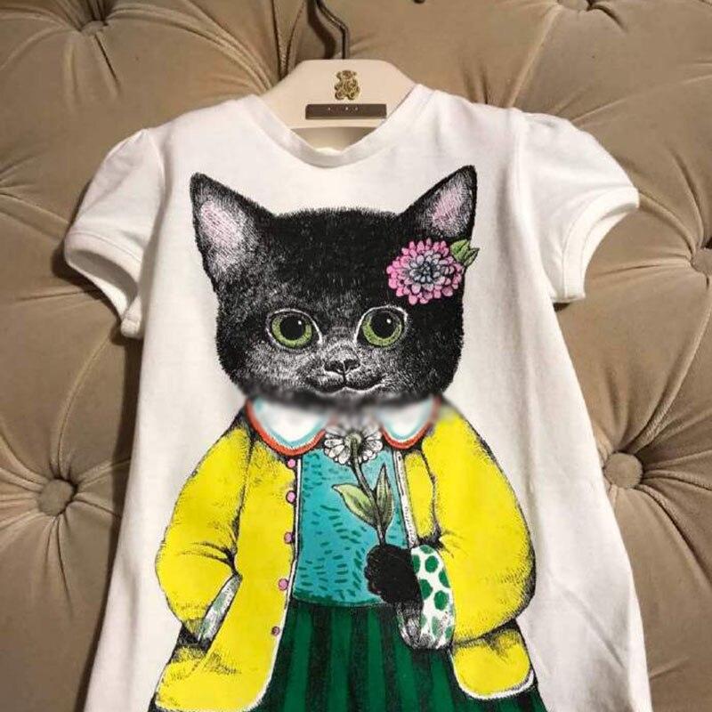 2018 Girls Clothes t shirts Cat Animal Print Shirt Cute Children Summer Tops Tees Kids Clothes Short-sleeve Cotton t shirt