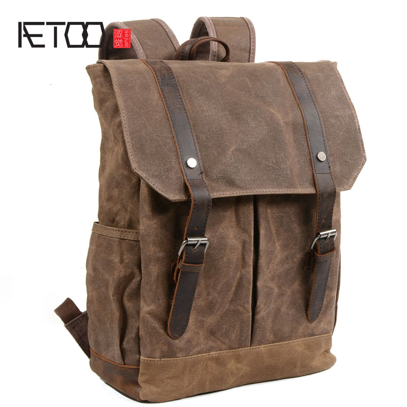 AETOO Korean retro bag men shoulder bag college wind simple college student backpack waterproof oil wax canvas bag men