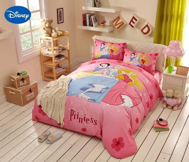 rose disney princesse imprime de couette ensemble de literie pour fille chambre decor coton couvre