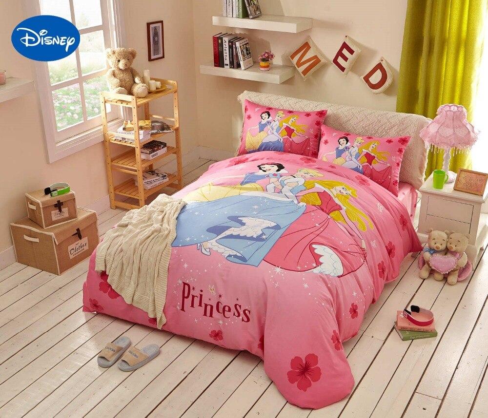 €66.58 24% de réduction|Rose Disney princesse imprimé couette ensemble de  literie pour fille chambre décor coton couvre lit housses de couette simple  ...