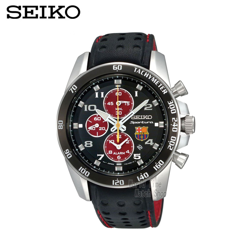 SEIKO Watch Limited Edition SNAE75P1 Sportura FC Barcelona Tachymeter Sapphire Glass Quartz Chronograph seiko watch premier series sapphire chronograph quartz men s watch snde23p1
