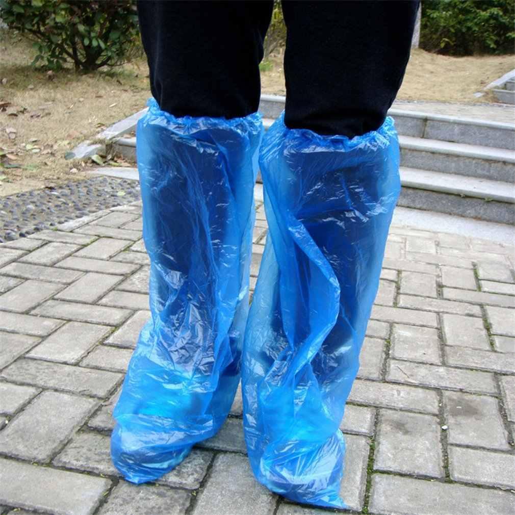 Tek kullanımlık galoş mavi yağmur ayakkabıları ve botlar kapak plastik uzun ayakkabı kapak temizle su geçirmez kaymaz Overshoe