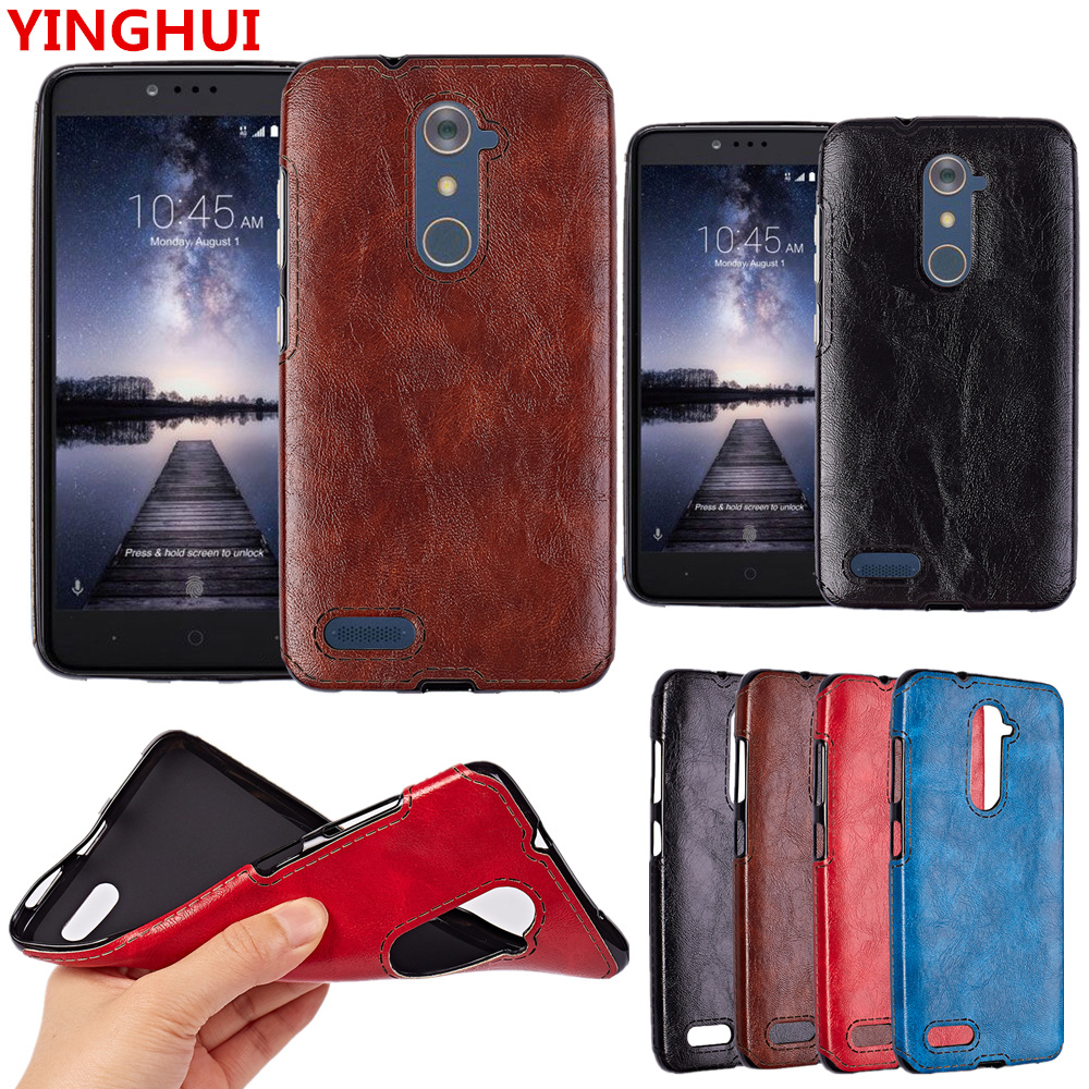 Zte For Zmax pu Leather Back Luxury Protective Pro Case Cover Tpu
