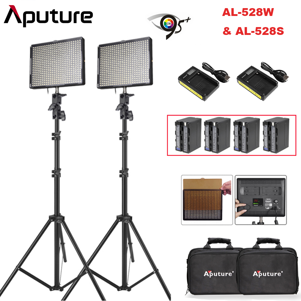 Aputure Amaran AL-528W & AL-528S LED Video Studio Camera Light Panel kit with NP-F970 Battery Pack & Battery Charge Light Stand