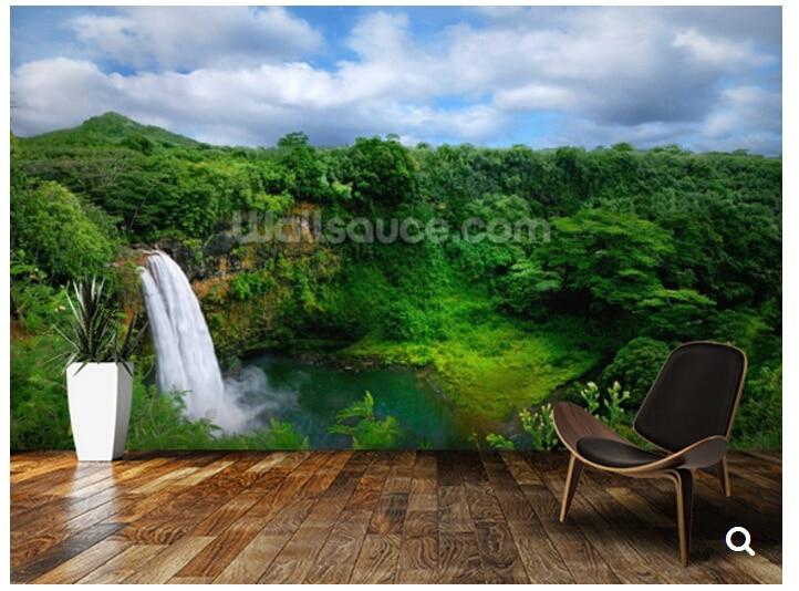 Custom 3d Nature Mural Wallpaper Nature Scenery For Walls: Custom Natural Scenery Wallpaper,Hawaii Waterfall,3D Photo