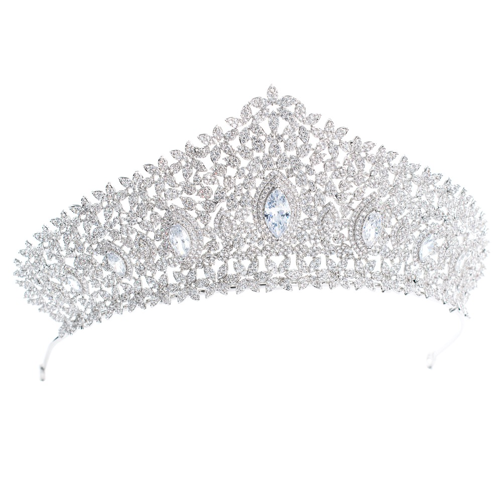Classic CZ Cubic Zirconia Wedding Bridal Silver Big Royal Tiara Diadem Crown Women Party Hair Jewelry Accessories CH10126Classic CZ Cubic Zirconia Wedding Bridal Silver Big Royal Tiara Diadem Crown Women Party Hair Jewelry Accessories CH10126