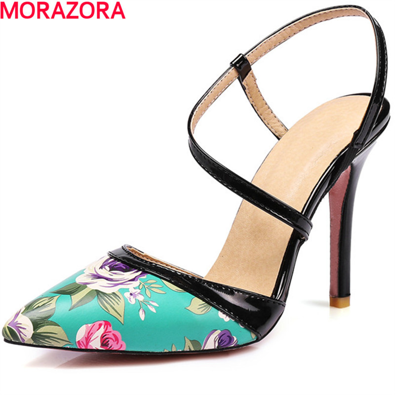 MORAZORA big size 34-46 hot sale shallow single shoes high heels elegant party shoes  pumps solid fashion shoes four seasons morazora bind pu solid high heels shoes 5cm in summer fashion elegant party shoes sandals party large size 34 42