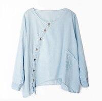 Women Blouses Loos Original Design Women Shirt Cotton Linen Women Shirts Long Sleeve O Neck Solid
