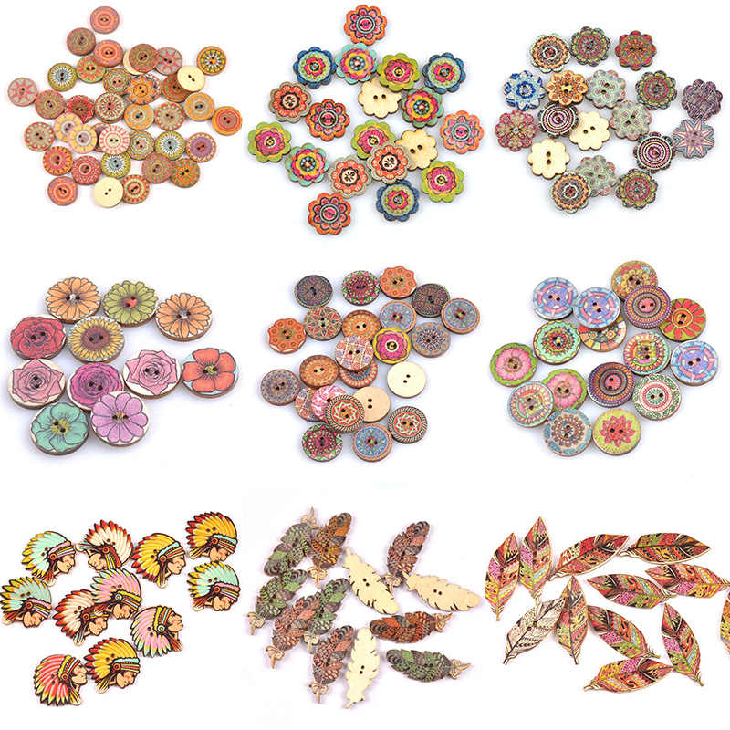 Sewing Accessories High Quality Popular Hot Sale Clothing Crafts Painted Sewing Gear Handwork 20PCS/Lot Wood Buttons