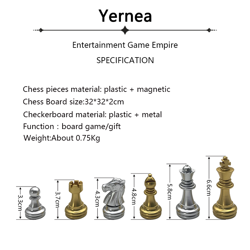 Chess set For High quality Chess Game Pieces Chess Magnetic Board Folding Plate Large Gold Silver Magnetic Reinforcement Yernea 1