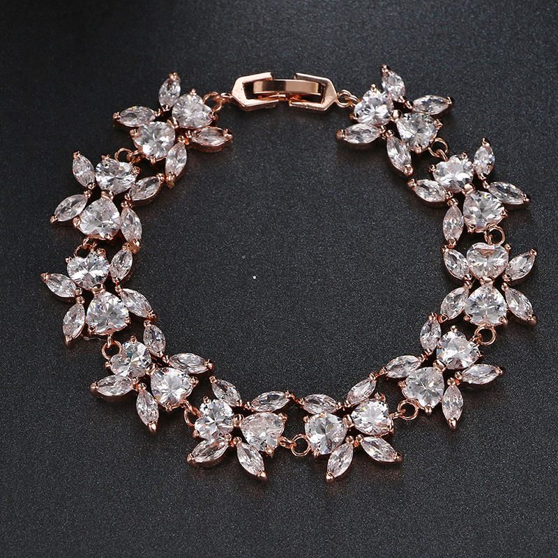Emmaya High Quality Zircon Bracelets For Women Rose Gold Color Crystal Beads Bracelets Wedding Party Free Shipping