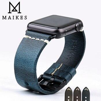 MAIKES часы браслет масло воск кожаный ремешок для наручных часов для Apple Watch, версии 44 мм 40 мм/42 мм, 38 мм, версия 4/3/2/1 наручных часов iWatch, ремешок д... >> MAIKES WA Store