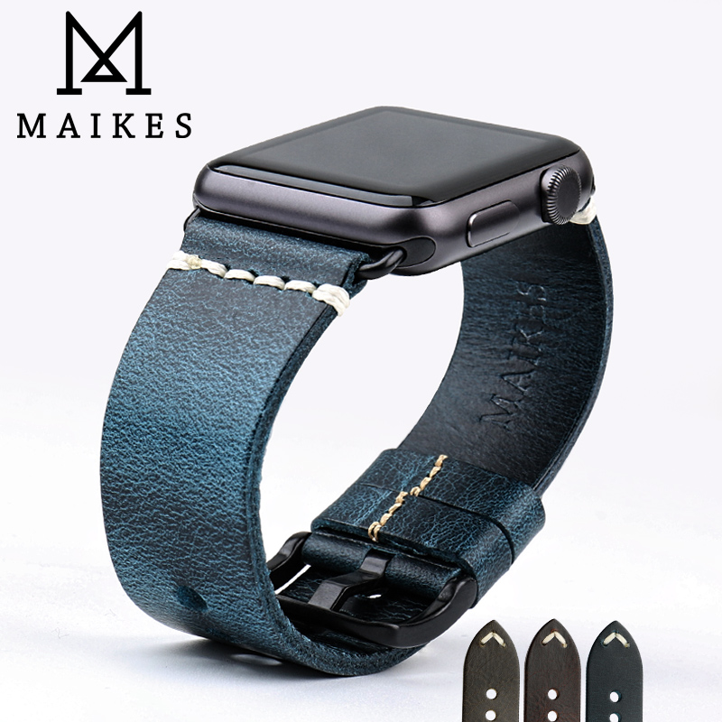 MAIKES Watch Bracelet Oil Wax Leather Watch band For Apple Watch 44mm 40mm / 42mm 38mm Series 4/3/2/1 iWatch Watch Strap 42mm 38mm for apple watch s3 series 3