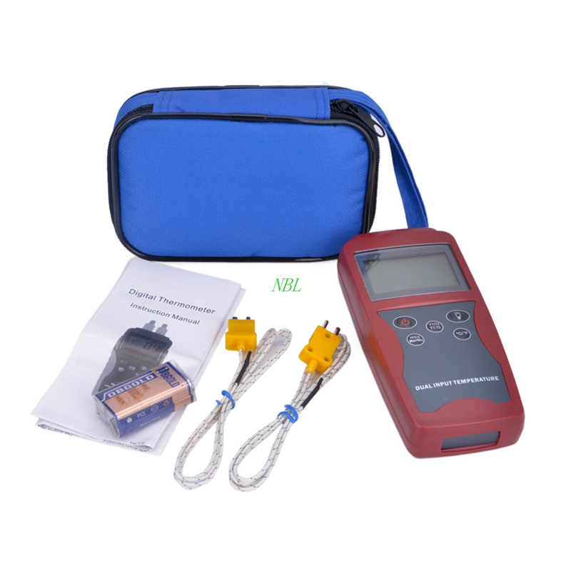 Professional Dual Channel K-type Digital Thermocouple Thermometer -50~1300 Centigrade With Temperature Probe C/F Swift DT821A s quire 947131