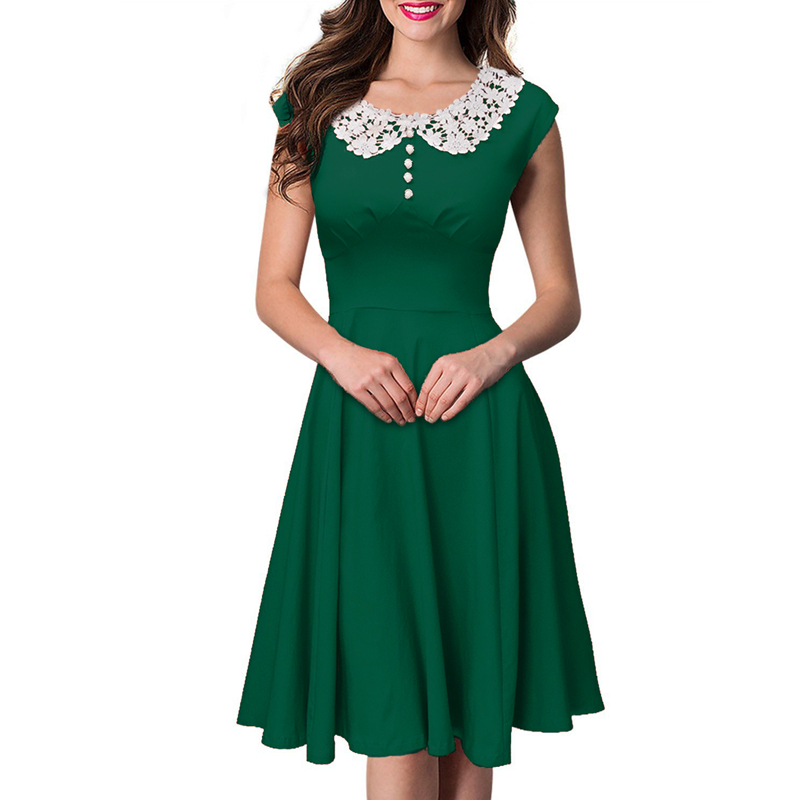 JIROFA 2016 UK Ladies Summer Elegant Green Lace Dresses Women Knitted ...