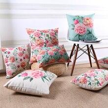 Vintage funda de almohada flores funda de cojín decoración del hogar fundas de cojines decorativas de lino algodón rosa roja funda de almohada para sofá 45x45cm