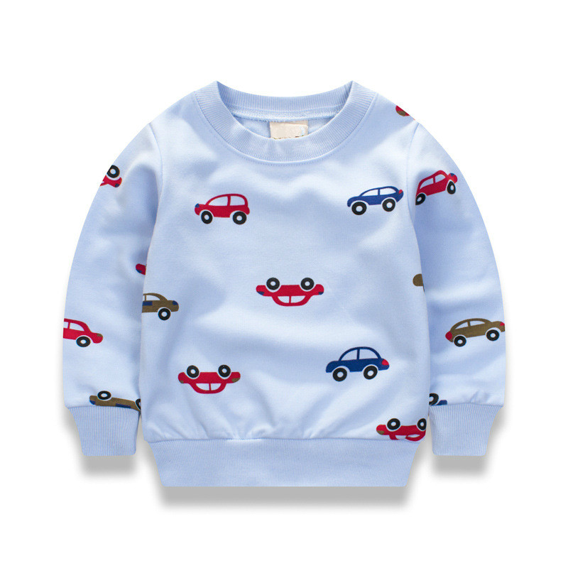 все цены на New Cars print Pullover Tee Fall 2017 Autumn Winter Kids Sweatshirt Tops Long Sleeve T-shirt Boys Girls Child Baby 12M2T3T4T6T