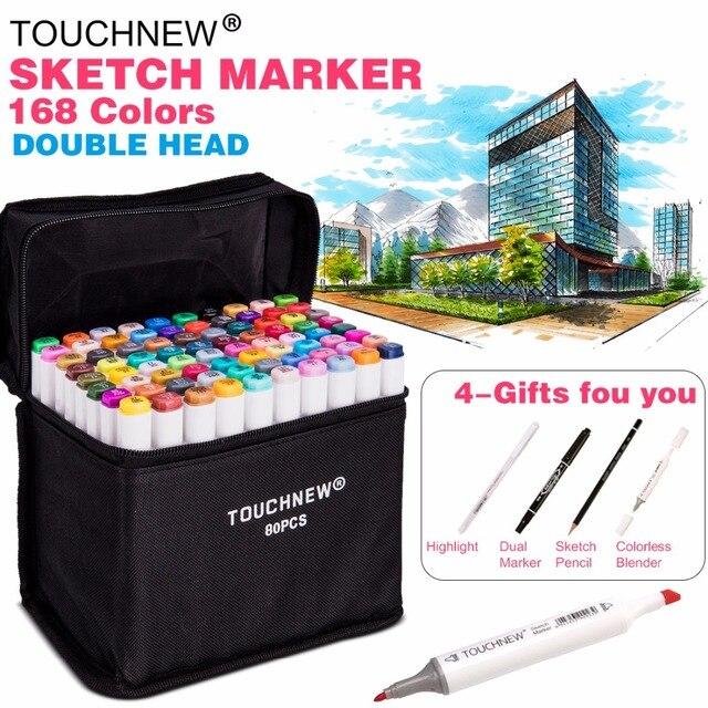 TOUCHNEW 30/40/60/80 Kleur Dual Hoofd Art Marker Set Sketch Markers Pen voor Kunstenaar tekening Manga Ontwerp Art Leverancier