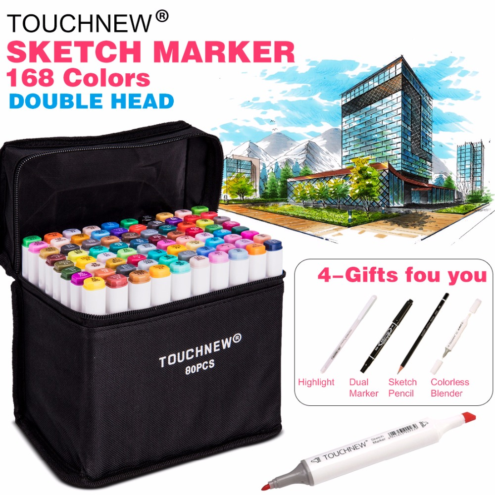 TOUCHNEW 30/40/60 / 80Color Dual Head Art Marker Set Alkohol Sketch Markers Pen pro Artist Drawing Manga Design Art Supplier