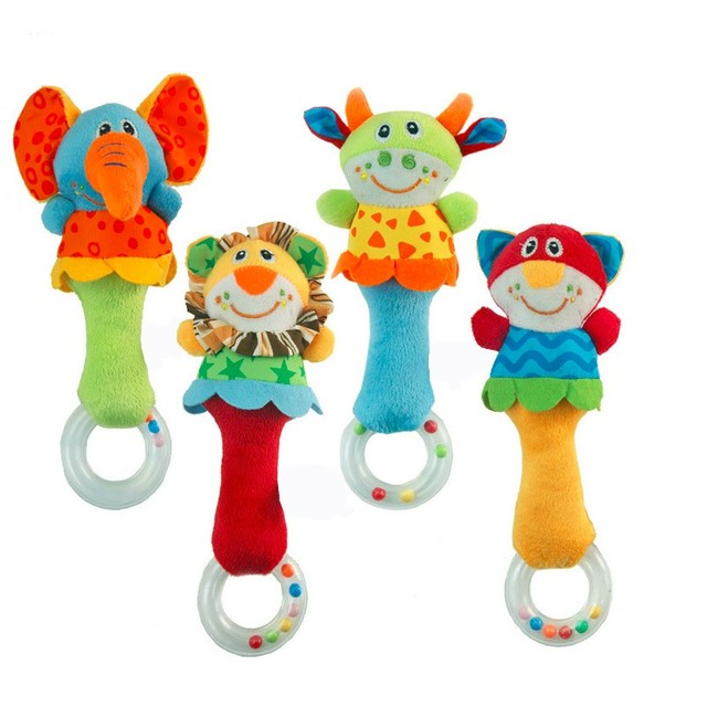 Cute Plush Rattling Hand Bells for Newborns and Infants
