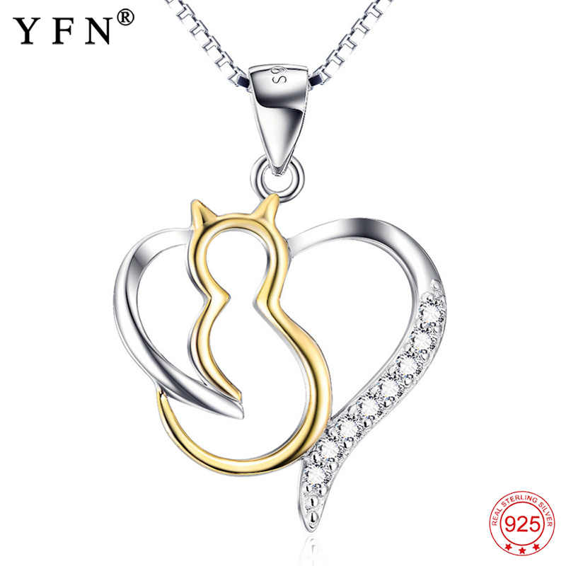 YFN Necklace 925 Sterling Silver Crystal CZ Cute Cat Love Heart Pendant Necklaces Sweet Necklace Fashion Gift For Women Chains