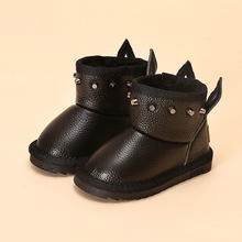 Children genuine leather show boots winter shoes for girls rivet ankle boots winter boots for toddler girls shoes(China)