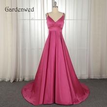 Gardenwed Rose Red Long Evening Dress 2019  Custom Made Vintage V Neck Satin Formal Dressvestido elegante