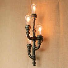 Iron Water Pipe Vintage Loft Style  Wall Lamp Industrial Wall Sconces Bedside Light Fixtures For Home Indoor Lighting Bar Cafe nordic style industrial water pipe light edison bulb vintage aisle wall lamp home decor for cafe bar hall coffee shop club store