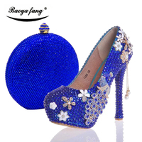 Womens wedding shoes with matching bags Royal Blue crystal Peacock Ladies Bride party dress shoe and purse woman Big size 34 43