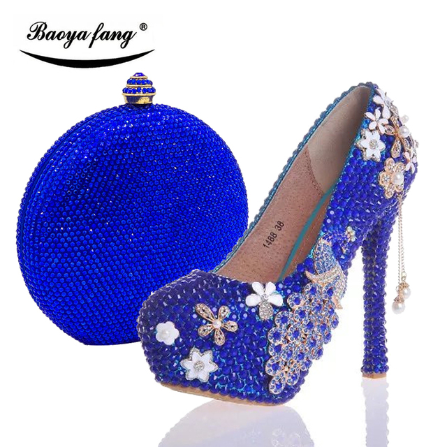 Womens wedding shoes with matching bags Royal Blue crystal Peacock Ladies  Bride party dress shoe and purse woman Big size 34-43 59dd70aee12e