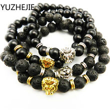 YUZHEJIE 2018 New Men's Black Matte Natural Stone & Golden Lion Head Bracelet 8mm Beads(China)