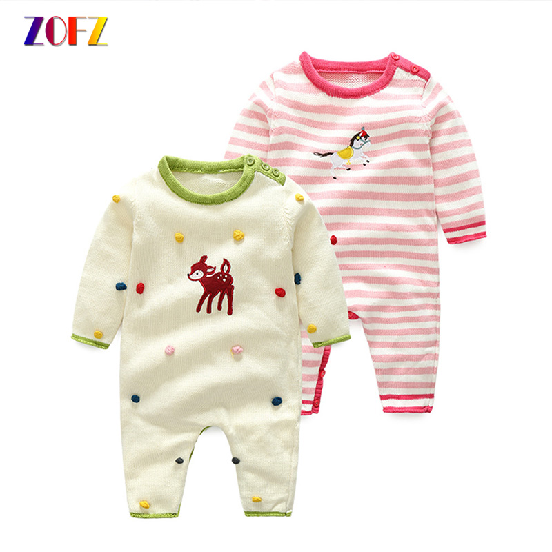 ZOFZ Baby Clothes for Girls 2018 Fashion Striped Long Sleeve Baby Rompers Cute Cotton O-Neck Jumpsuit for bebes Casual clothing baby rompers o neck 100