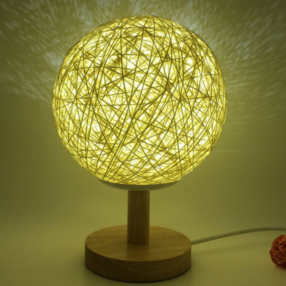 Romantic Rattan Ball Night Light with Wood Base Round Lampshade Night Lamp Home Decor Bedside Desk Lamp for Party Wedding New