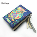 Genuine leather womens wallets and purses double zipper wallet cuir women Animal print cute owl wallet female purse clutch bags