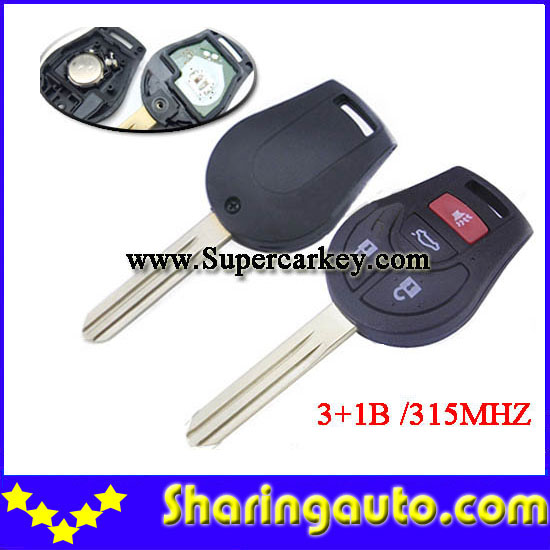 Free shipping 3+1 button New Replacement Remote Headed Key Keyless Entry Ignition Car Fob Uncut  for Nissan (1piece)