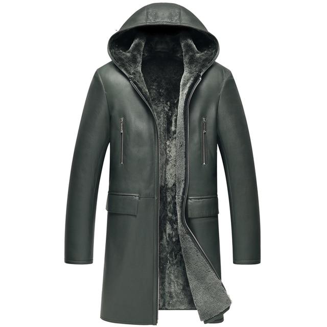 Popular Mens Sheepskin Fur Coat Men's Shearling Jacket Dark Green Long  ZB32