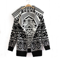 New Autumn 2016 European Geometric Pattern Knitted Cardigan Casual Loose Open Stitch Sweater Coat Women Jackets Outwears