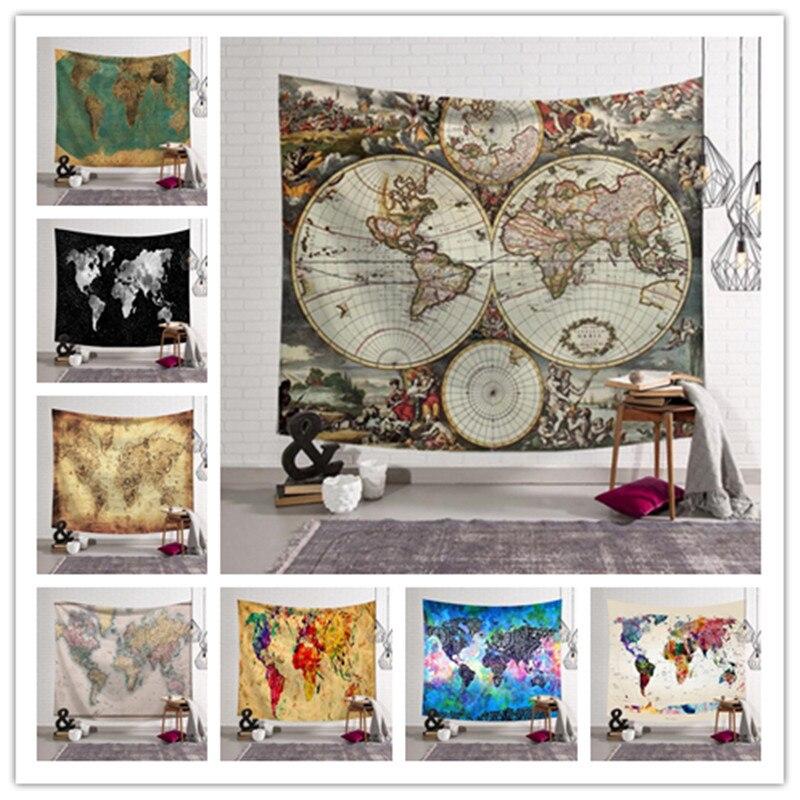 ①  Карта мира Печатный Гобелен Стене Висит Home Decor 12 Дизайн Пляжное Полотенце Йога Коврик Шаль Пикн ①